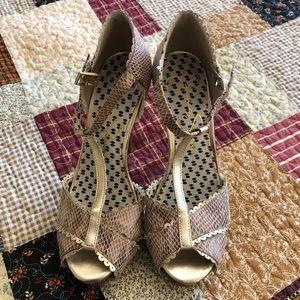 Jessica Simpson peep toe faux snakeskin stiletto